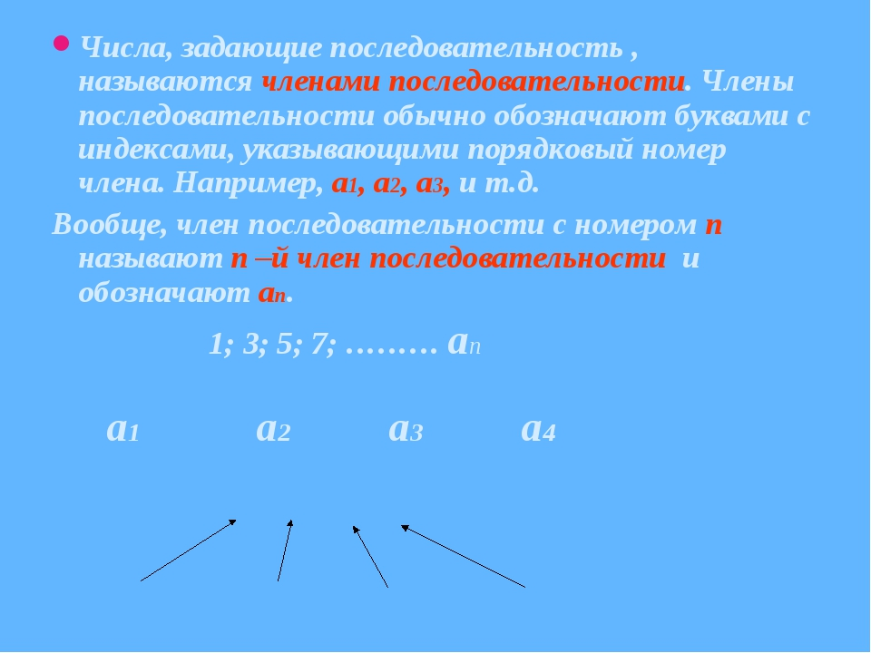Числа, задающие последовательность , называются членами последовательности. Ч...