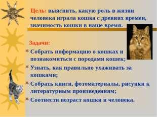 Цель: выяснить, какую роль в жизни человека играла кошка с древних времен, з