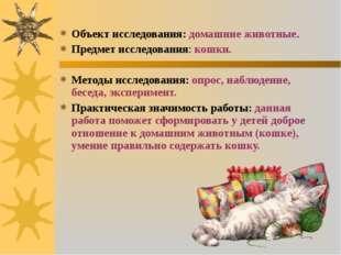 Объект исследования: домашние животные. Предмет исследования: кошки. Методы и