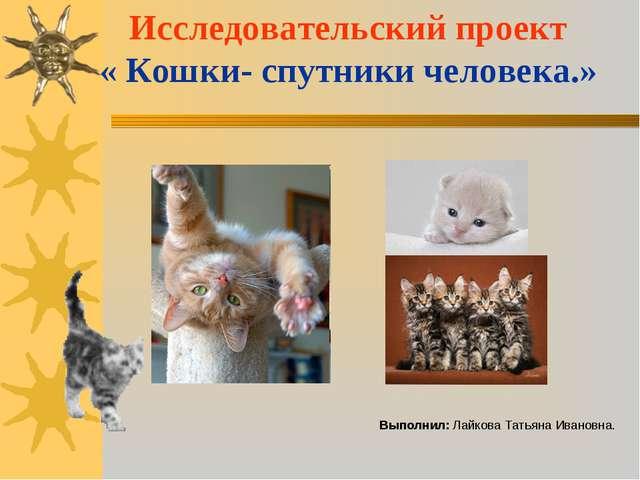 Исследовательский проект « Кошки- спутники человека.» Выполнил: Лайкова Татья...