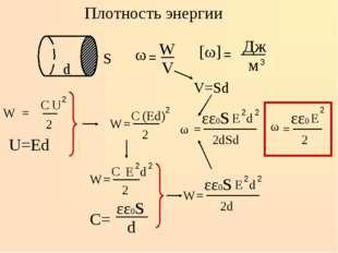 Плотность энергии U=Ed V=Sd