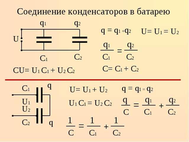 Соединение конденсаторов в батарею q = q1 +q2 U= U1 = U2 СU= U1 С1 + U2 С2 С...