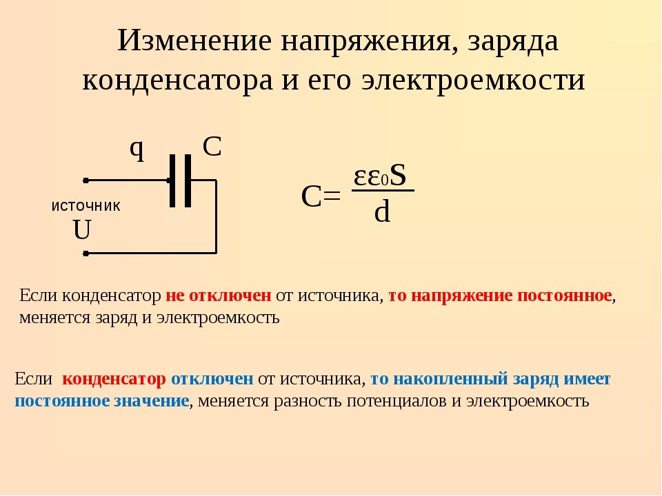 Изменение напряжения, заряда конденсатора и его электроемкости q С источник...