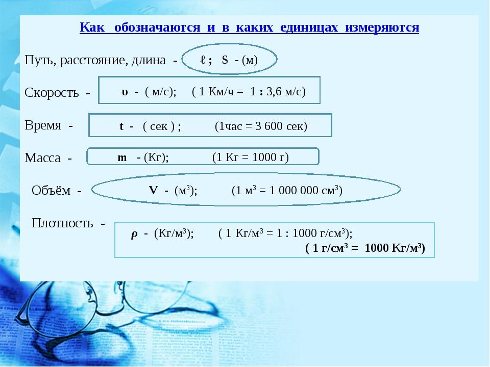 Как обозначаются и в каких единицах измеряются Путь, расстояние, длина - Скор...