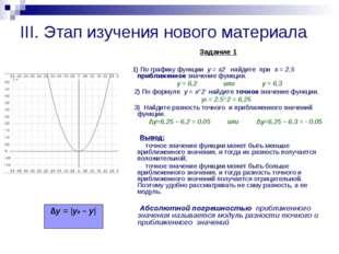 III. Этап изучения нового материала Задание 1 1) По графику функции y = x2 на