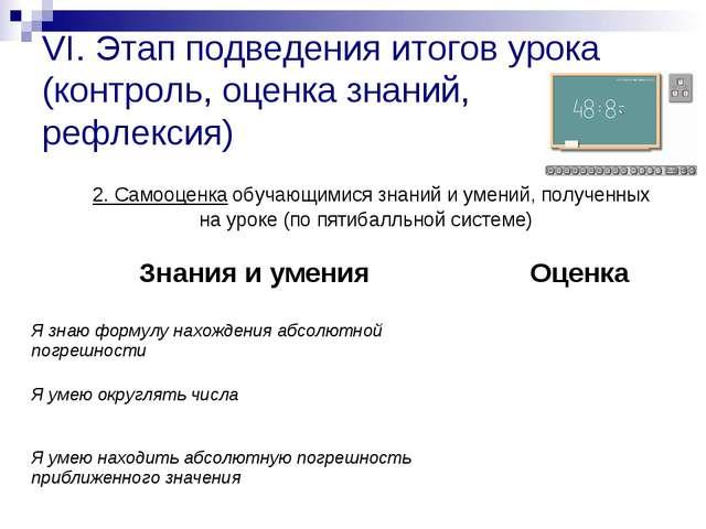VI. Этап подведения итогов урока (контроль, оценка знаний, рефлексия) 2. Само...