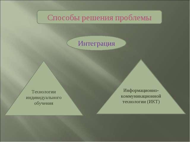 Способы решения проблемы Технологии индивидуального обучения Информационно-ко...