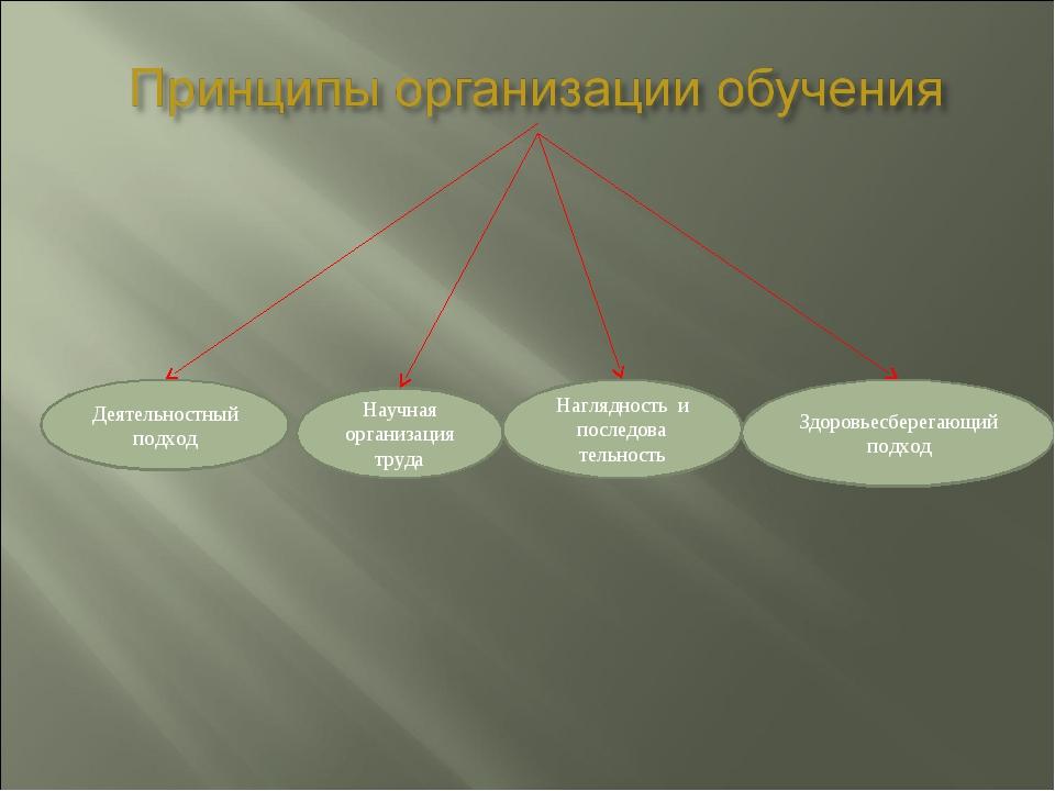 Деятельностный подход Научная организация труда Наглядность и последова тельн...