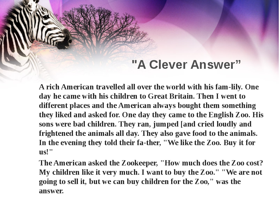 """A Clever Answer"" A rich American travelled all over the world with his fam-l..."