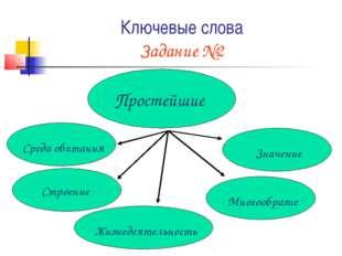 Ключевые слова Задание №2 Простейшие Строение Среда обитания Многообразие Жиз