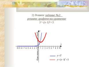 2) Решите задание №2: решите графически уравнение 5х=(х-1)2+3.