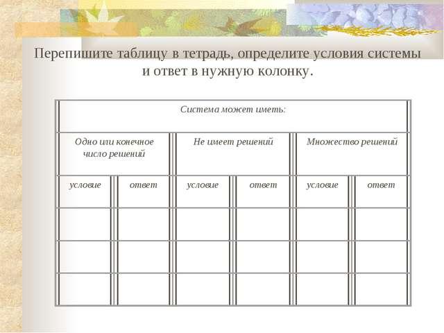 Перепишите таблицу в тетрадь, определите условия системы и ответ в нужную кол...