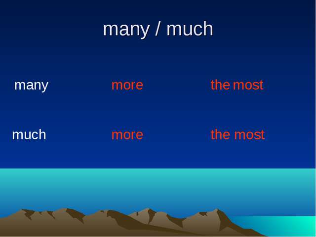many / much many much more more the most the most