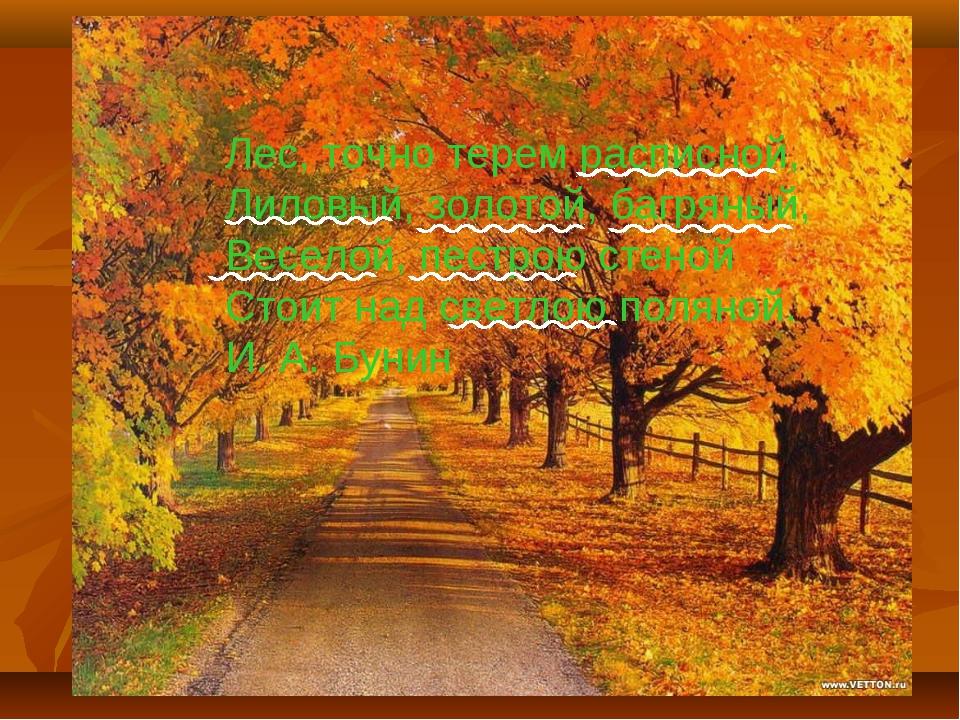 ' Лес, точно терем расписной, Лиловый, золотой, багряный, Веселой, пестрою ст...