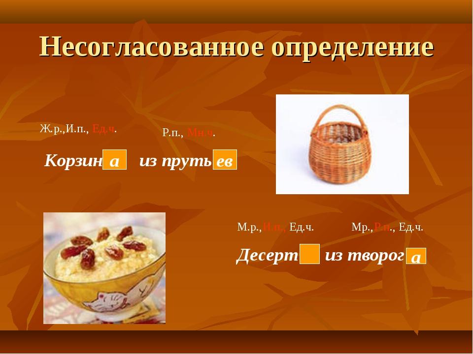 Несогласованное определение Корзин из пруть Десерт из творог а ев а Ж.р.,И.п....