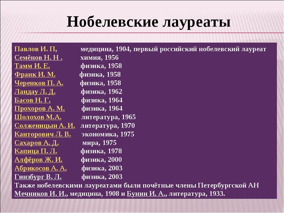 Нобелевские лауреаты Павлов И. П. медицина, 1904, первый российский нобелевск...