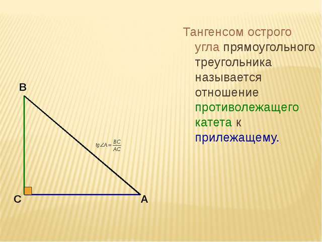 Тангенсом острого угла прямоугольного треугольника называется отношение проти...