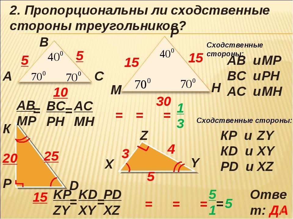 А В С М Р Н К Р D X Y Z 2. Пропорциональны ли сходственные стороны треугольни...