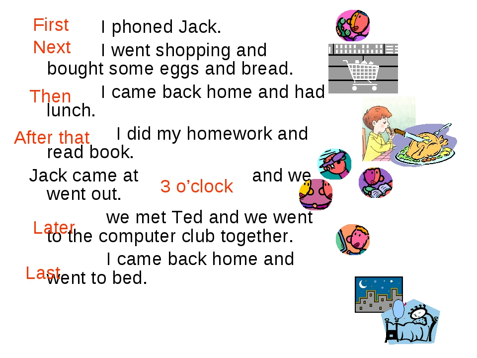 I phoned Jack. I went shopping and bought some eggs and bread. I came back h...