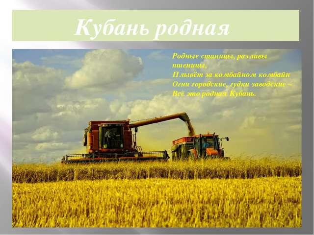 Родные станицы, разливы пшеницы, Плывёт за комбайном комбайн Огни городские,...