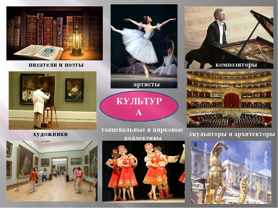 КУЛЬТУРА писатели и поэты художники композиторы скульпторы и архитекторы арти...