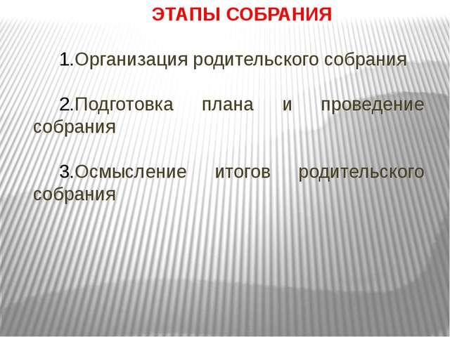 ЭТАПЫ СОБРАНИЯ Организация родительского собрания Подготовка плана и проведен...