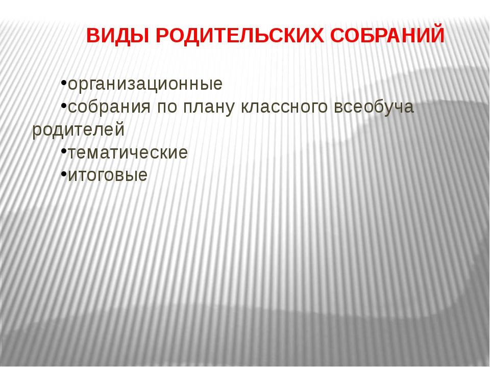ВИДЫ РОДИТЕЛЬСКИХ СОБРАНИЙ организационные собрания по плану классного всеобу...