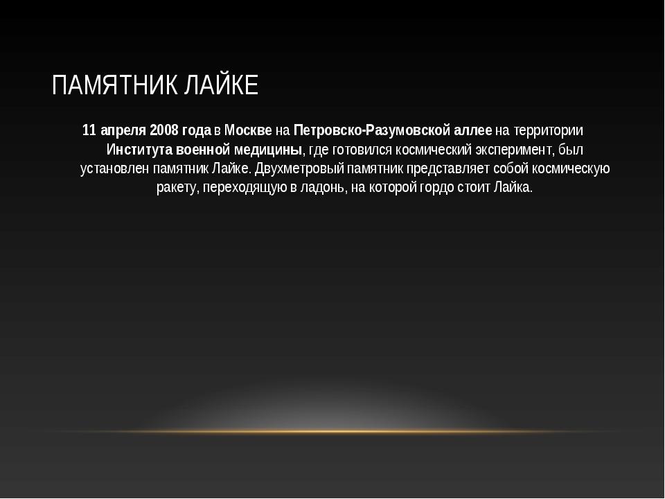 ПАМЯТНИК ЛАЙКЕ 11 апреля 2008 года в Москве на Петровско-Разумовской аллее на...