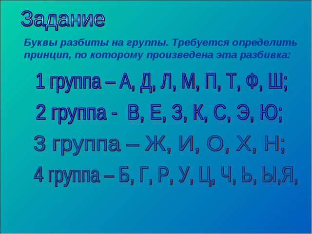 Буквы разбиты на группы. Требуется определить принцип, по которому произведен...