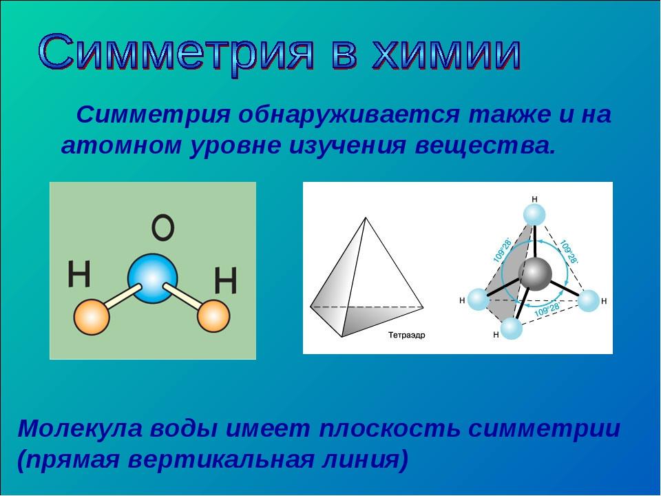 Симметрия обнаруживается также и на атомном уровне изучения вещества. Молеку...