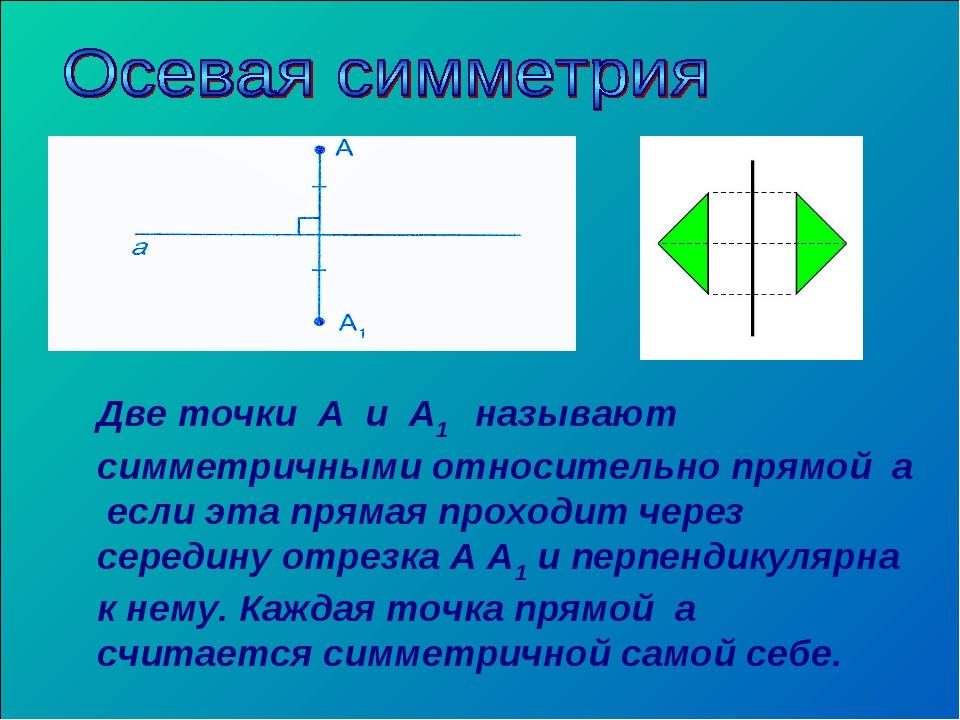 Две точки А и А1 называют симметричными относительно прямой а если эта пряма...