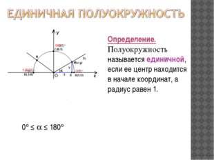 0 ≤  ≤ 180 Определение. Полуокружность называется единичной, если ее цент