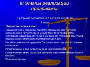 III Этапы реализации программы: Программа рассчитана на 6 лет и реализуется в