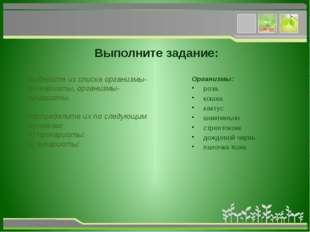 Выполните задание: Выберите из списка организмы-прокариоты, организмы-эукари