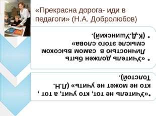 «Прекрасна дорога- иди в педагоги» (Н.А. Добролюбов)