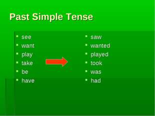 Past Simple Tense see want play take be have saw wanted played took was had