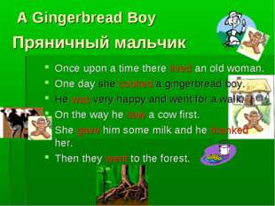 A Gingerbread Boy Once upon a time there lived an old woman. One day she cook