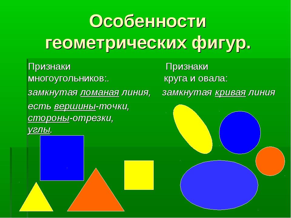 Особенности геометрических фигур. Признаки Признаки многоугольников:. круга и...