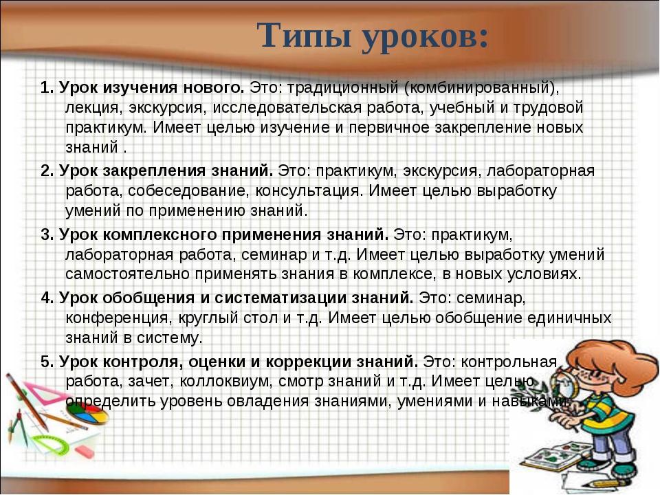 Типы уроков: 1. Урок изучения нового. Это: традиционный (комбинированный), л...