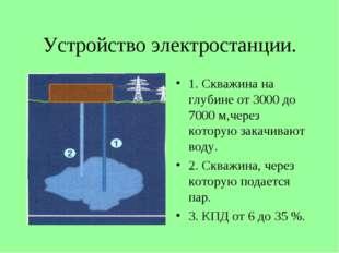 Устройство электростанции. 1. Скважина на глубине от 3000 до 7000 м,через кот