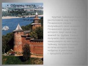 Круглая Тайницкая башня расположена над скатом кручи Почаинского овраг