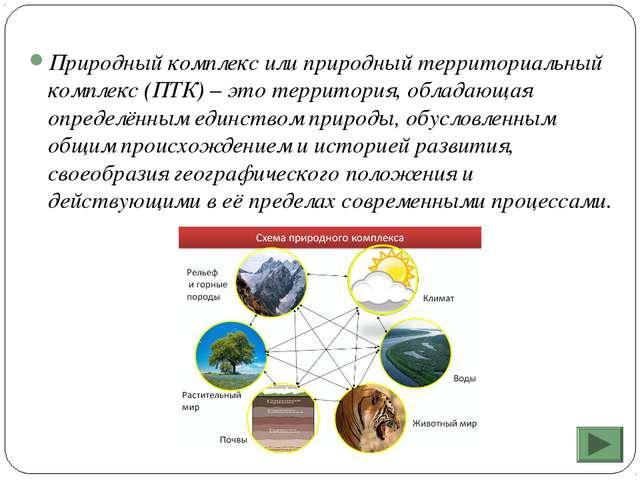 Природный комплекс или природный территориальный комплекс (ПТК) – это террито...