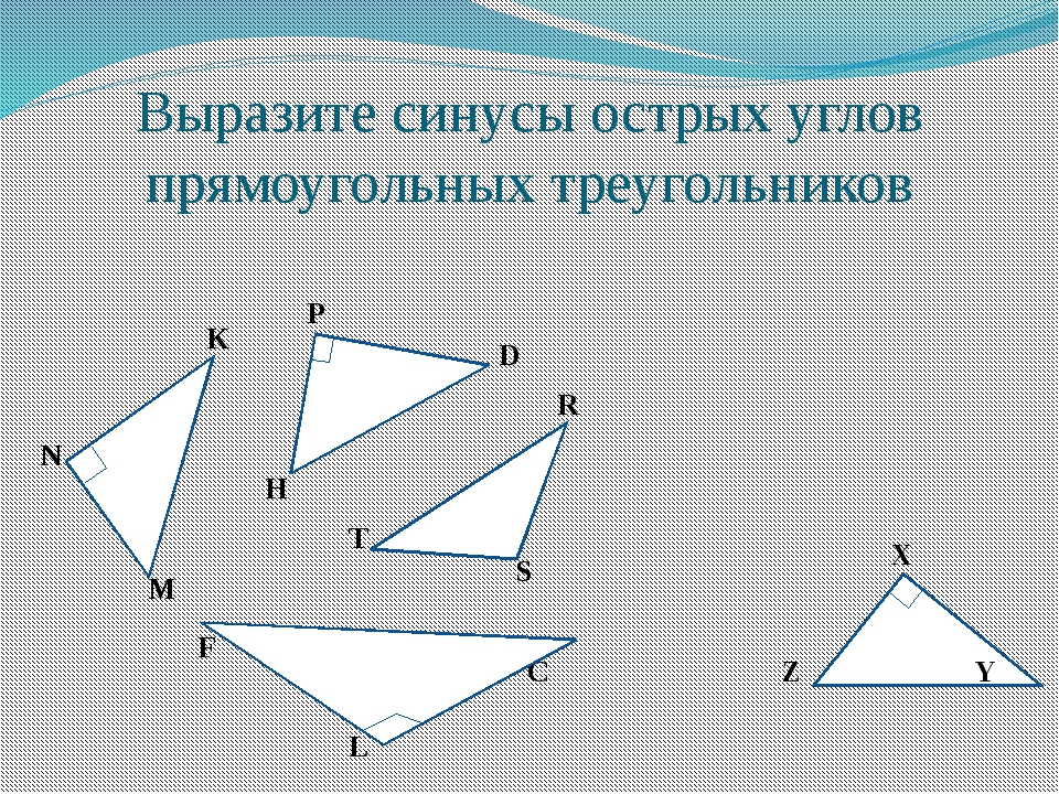 Выразите синусы острых углов прямоугольных треугольников K N M P D H R S T X...