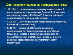 Достижения учащихся за предыдущие годы 06.12.2011г. - команда по настольному