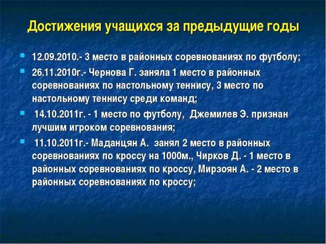 Достижения учащихся за предыдущие годы 12.09.2010.- 3 место в районных соревн...