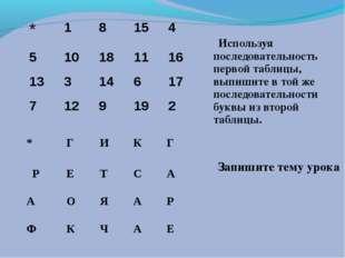 Используя последовательность первой таблицы, выпишите в той же последователь