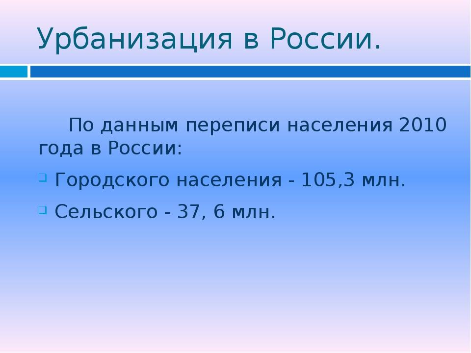 Урбанизация в России. По данным переписи населения 2010 года в России: Городс...