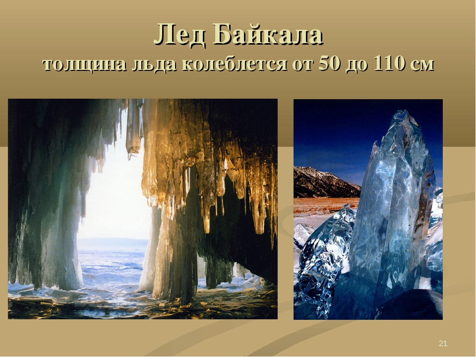 Лед Байкала толщина льда колеблется от 50 до 110 см *