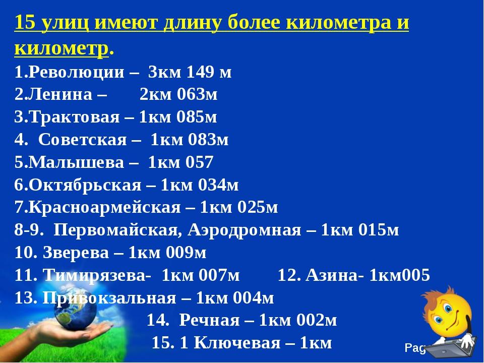 15 улиц имеют длину более километра и километр. Революции – 3км 149 м Ленина...