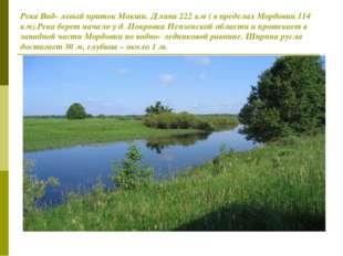Река Вад- левый приток Мокши. Длина 222 км ( в пределах Мордовии 114 км).Река